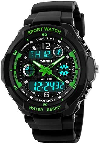 Takyae Kids Watch Sport Multi Function 30M Waterproof LED Alarm Stopwatch Digital Child Wristwatch for Boy Girl S- Green