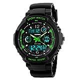 Takyae Kids Watch Sport Multi Function 30M Waterproof LED Alarm Stopwatch Digital Child Wristwatch for Boy Girl S- Green