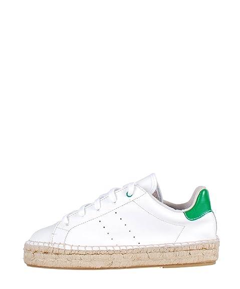 Stiu Stan Smith Alpargatas White - Zapatillas blancas de piel suela paja Blanco Size: 37: Amazon.es: Zapatos y complementos
