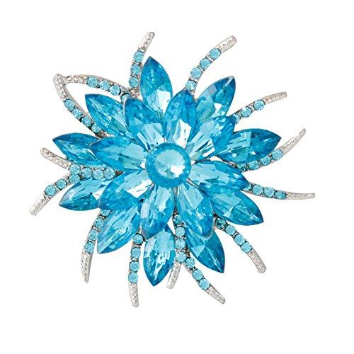 (F&U Flower Brooch Pin Fashion Crystal Corsage for Women in Bouquet Wedding (BLU) )