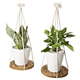 9-Inch Round Burnt Wood Hanging Plant Stand with Rope Hangers, Set of 2