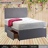 4 ft Small Double Divan Bed Set - Headboard, Memory Foam Mattress, Divan Bed Base (Faux Leather Black, 2 SIDE Drawers)