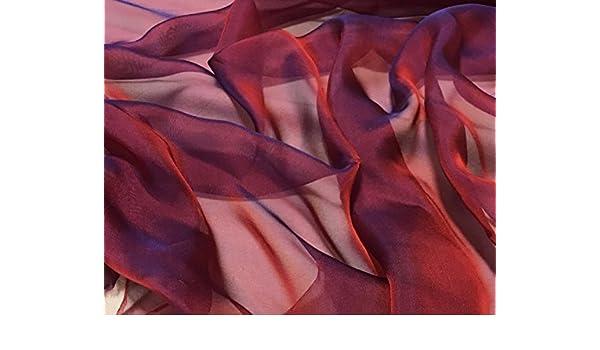 Scarlet Red Royal Blue Iridescent Silk Chiffon Fabric