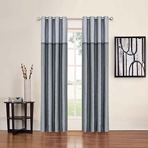 ECLIPSE 52 x 95 Window Treatment Thermal Insulated Single Panel Grommet Top Darkening Curtains for Living Room, Grey