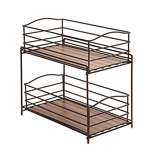 - Seville Classics 2-Tier Sliding Basket Drawer Kitchen Counter and Cabinet Organizer, Bronze