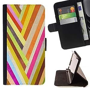 For HTC DESIRE 816 Case , Oro Happy Colors líneas modelo textura- la tarjeta de Crédito Slots PU Funda de cuero Monedero caso cubierta de piel