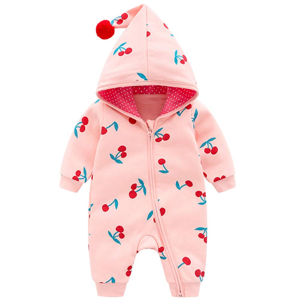M/&A Baby Girls Jumpsuit Hooded Romper Long Sleeve Cotton Hoodie Outfit