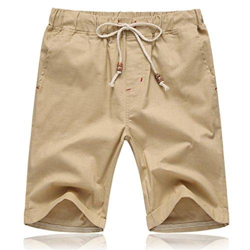 PASATO Men Summer Linen Cotton Solid Beach Casual Elastic Waist Classic Fit Shorts (Khaki, XXXXXL) ()