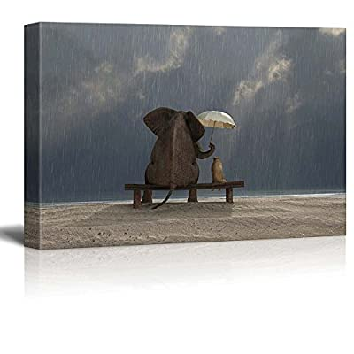 Elephant and Dog Sit Under The Rain Wall...