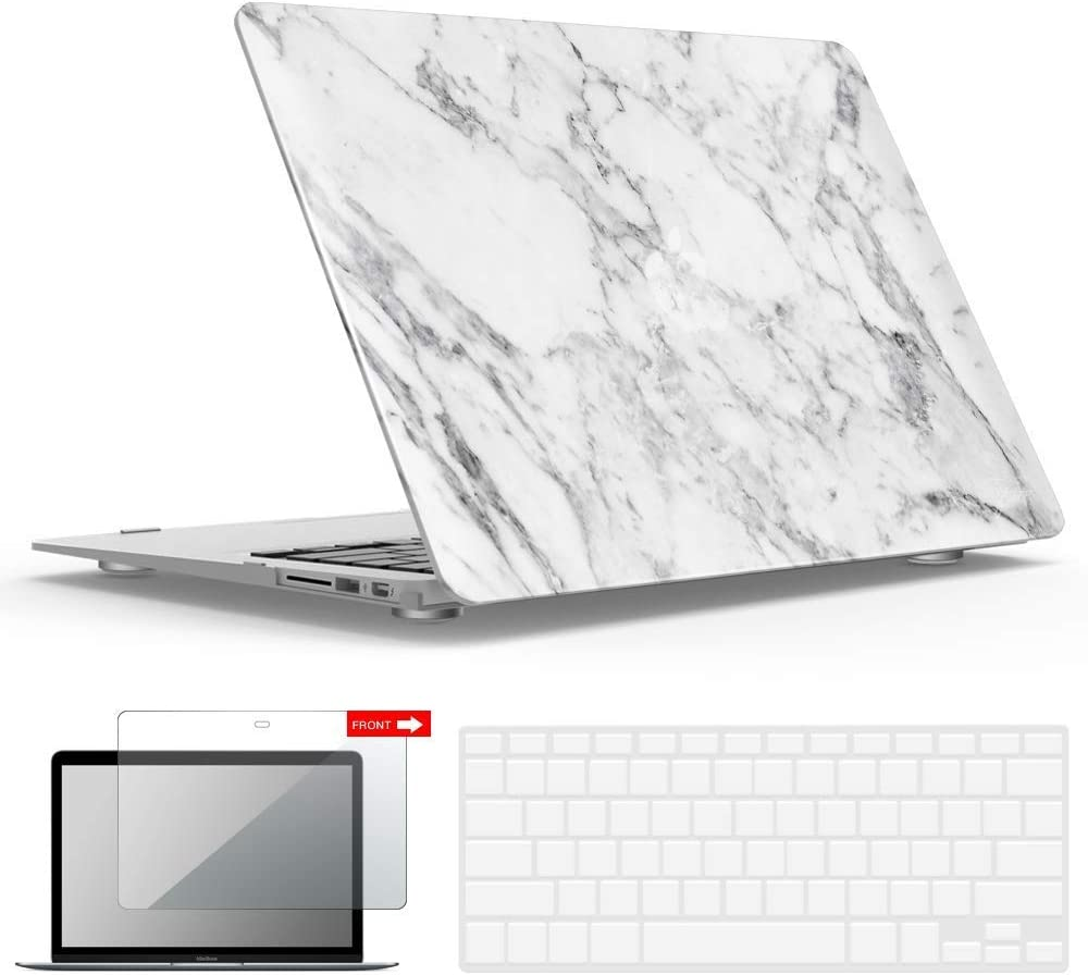 IBENZER MacBook Air 13 Inch Case A1466 A1369, Hard Shell Case with Keyboard & Screen Cover for Apple Mac Air 13 Old Version 2017 2016 2015 2014 2013 2012 2011 2010, White Marble, A1301WHMB+2