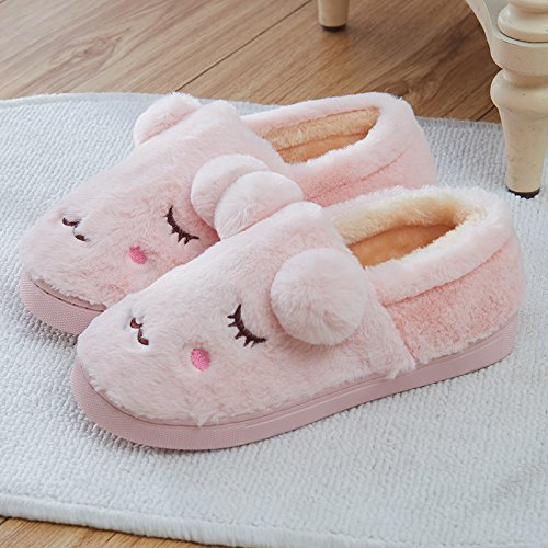 Aemember Autumn And Winter Cotton Slippers Bag With Indoor Home Furnishing Thick Warm Non Slip Home,36/37 (Suitable For 35/36 Feet At Ordinary Times),Pale Pink