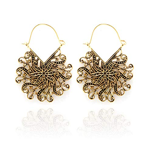 - Kanyankeji Women's Bohemian Filigree Chandelier Hollow Lace Pattern Statement Dangle Earrings in Silver Gold Color (Gold)