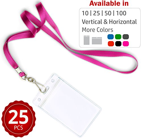 Durably Woven Lanyards & Vertical ID Badge Holders ~Premium Quality, Waterproof & Dustproof ~ for Moms, Teachers, Tours, Events, Businesses, Cruises & More (25 Pack, Pink) by Stationery King -