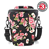 Portable DSLR Camera Case Bag with Top Loading Accesibility , Shoulder Sling and Weather Resistant Bottom by USA Gear - Works With Canon , Nikon , Sony , Pentax and More - Floral