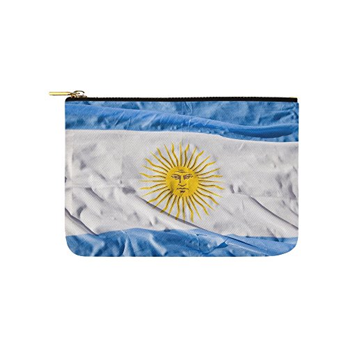 Argentina Flag Argentina World Wave Celeste Unique Custom Carry-all Pouch With Zippered Cosmetic Cases Makeup Bag Travel Gear ()