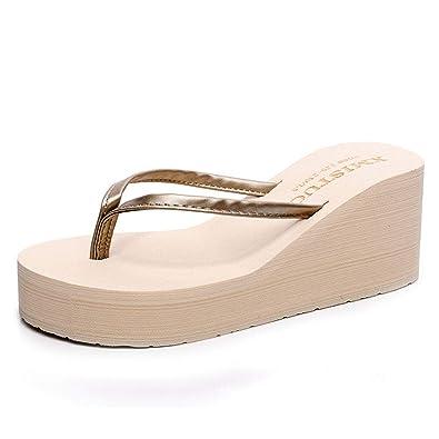67575d137106 F-OXMY Women Comfy Platform Flip Flops Bohemian Summer Beach Thick Bottom  Anti-Slip