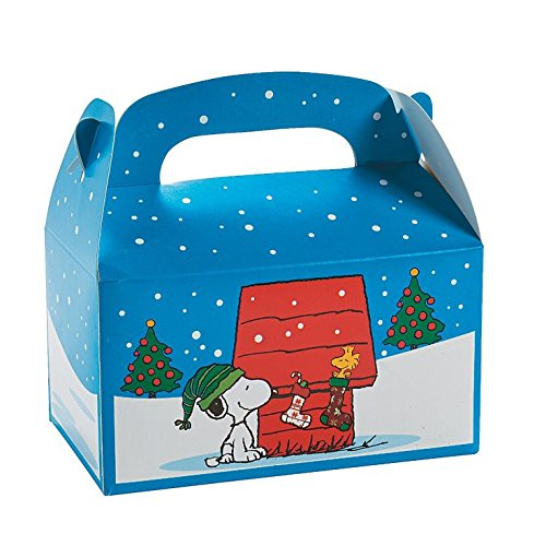Snoopy Party Favor Box (Peanuts Snoopy & Woodstock Treat Boxes Christmas (Set of 12 Favor Boxes))