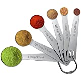 bC BimeTALliC CAble Spoon Kitchen 6pcs Dry and Liquid Ingredients,Measuring Tool Stainless Steel Teaspoon Tablespoon Nesting Cups fit for Cooking Baking, Silver
