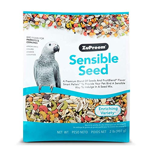 ZuPreem Sensible Seed Bird Food for Parrots and Conures | Premium Blend of Seeds, FruitBlend Pellets for Caiques…