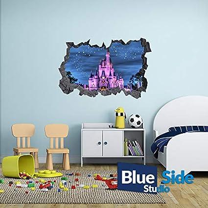 105cm x 69cm Sticker mural 3D Motif ch/âteau de Disney