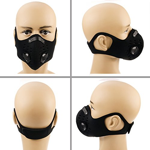 HTSM Dust Mask Anti Pollution PM2.5 Face Masks Washable and Reusable Dustproof Respirator Safety Mask with 2 Valves and 4 Activated Carbon N99 Filters Made for Men Women Outdoor Activities (Black) by HAITUNSUMAI (Image #7)