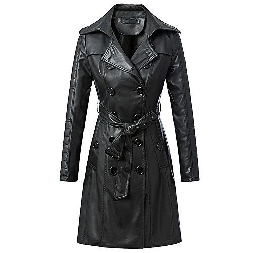 Design Leather Trench Coat (QJH Womens Ultra Soft PU Leather Slim Fit Trench Jacket Long Double Breasted Coat With Belt)