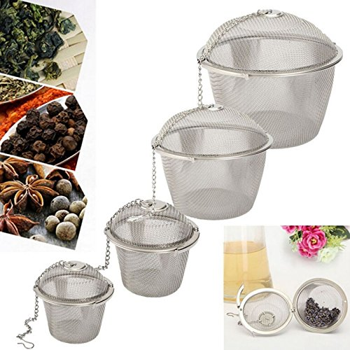 SISHUINIANHUA 4 Size Stainless Steel Tea Strainer Infuser Tea Locking Ball Tea Spice Mesh Herbal Ball Cooking Tools,XXL