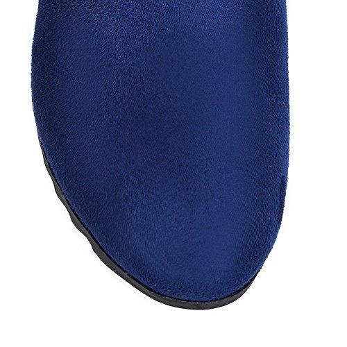 AllhqFashion Mujeres Puntera Redonda Caña Baja Cuña Tachonado Botas con Metal Azul
