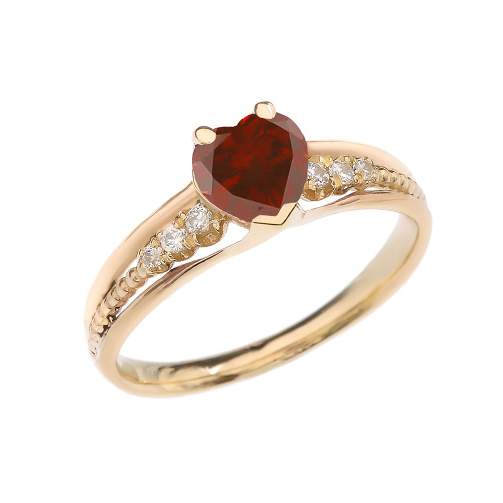 Dazzling 14k Yellow Gold Diamond And Garnet Birthstone Heart Beaded Promise Ring (Size 4.5)