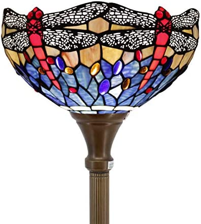 Tiffany Style Torchiere Light Floor Standing Lamp Wide 12 Tall 66 Inch Blue Red Stained Glass Crystal Bead Dragonfly Lampshade for Living Room Bedroom Antique Table S688 WERFACTORY