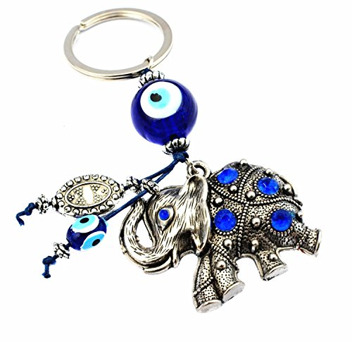 Blue Evil Eye with Elephant Key Chain for Protection (With a Betterdecor ()