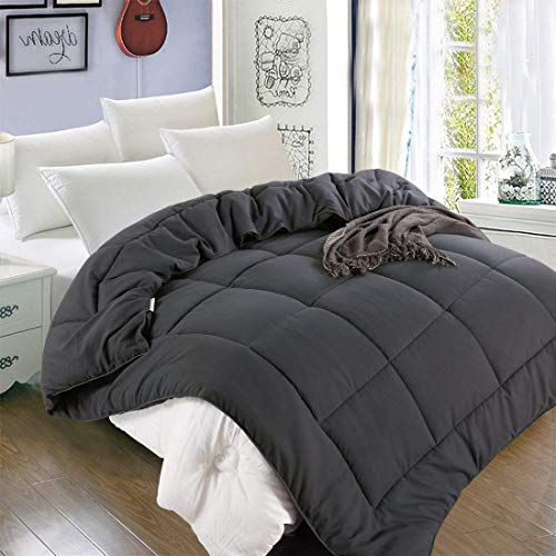All Season King Goose Down Alternative Quilted Comforter with Corner Tabs - Hypoallergenic -Double Plush Fabric -Super Microfiber Fill -Machine Washable - Duvet Insert & Stand-Alone Comforter - Grey