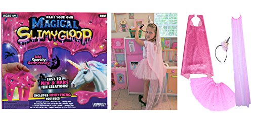Diy Princess Tutu Costumes (Make Your Own Magical Slimy Gloop and Princess Unicorn Dress up set with Unicorn Headband and Pink Tutu, Super Hero Cape and Veil)