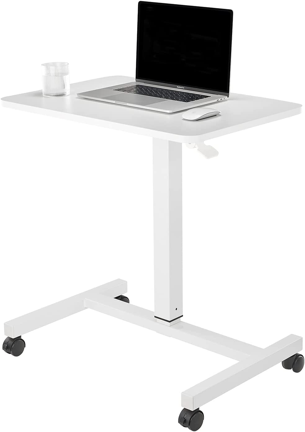 CLATINA Mobile Laptop Desk Pneumatic Sit to Stand Table Height Adjustable Rolling Cart with Lockable Wheels for Home Office Computer Workstation, 28 x 19 Inch White - Fidel