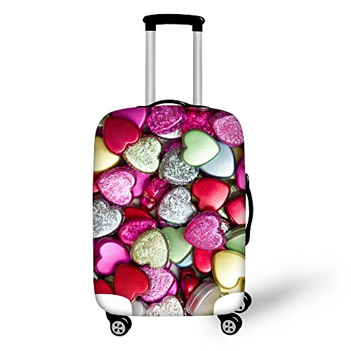 For U Designs 26-30 Inch Large Fashion Love Heart Style Printed Luggage Covers Spandex Suitcase Cover for Woman by For U Designs luggage cover