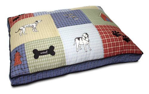 "Petmate Quilted Applique Dog Bed, Classic Dog Motif, Large Grand, 27"" x 36"", Multicolored"
