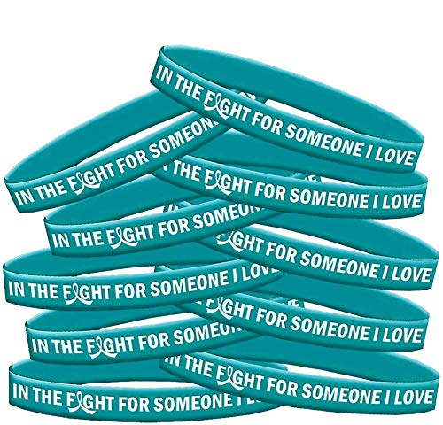 in The Fight for Someone I Love Ovarian Cancer Batten Disease Interstitial Cystitis PKD Wristband Bracelet 10-Pack (Teal)
