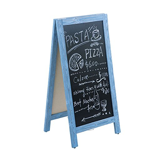 4 Thought A-Frame Chalkboard Sign 40 x20 Inches, Rustic Wooden Freestanding Sidewalk Sign, Vintage Double-Sided Sign Board for Restaurant Shop Wedding Party, ()