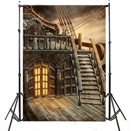 DODOING 5x7ft Retro Pirate Ship Photography Backdrop Studio Prop Photo Background 1.5×2.1m]()