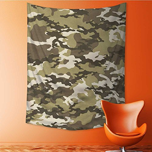 Print Decorative Throw Fabric Tapestry Wall Hanging fashionable camouflage pattern vector illustration military print seamless vector wallpaper Art Decor for Bedroom 59L x 90.5W Inches