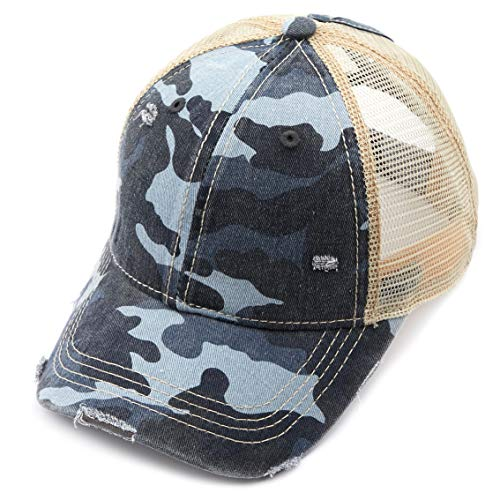 C.C Exclusives Hatsandscarf Washed Distressed Cotton Denim Ponytail Hat Adjustable Baseball Cap (BT-13) (Blue/Camo)