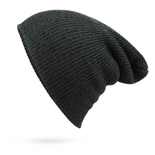 Adults Stripe Design Skull Cap with Solid Color Cap Warm Woolen Yarn Beanie