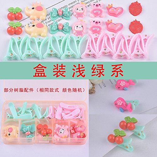 Based Resin - DIY Handmade Hair Accessories Hairpin Material Package Produced Jewelry Bow Hairpin Girl Children Package Hair pin Comb Claw Ribbon Set (Light Green-Based Resin No. 4