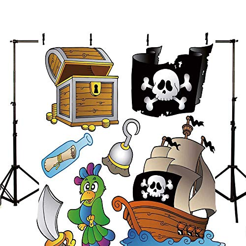 Pirate Stylish Backdrop,Pirate Themed Collection Treasure Chest Jolly Roger Flag Ship Cutlass Parrot Cartoon for Photography,118