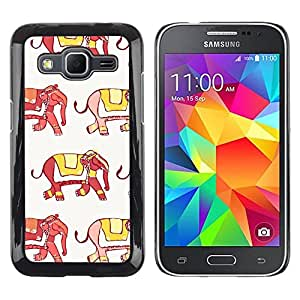 Paccase / SLIM PC / Aliminium Casa Carcasa Funda Case Cover para - Elephant India Fashion Yellow Red White - Samsung Galaxy Core Prime SM-G360