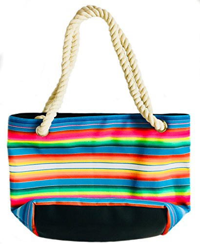 Serape Print Handbag/Tote Bag with Thick Cotton Rope Straps
