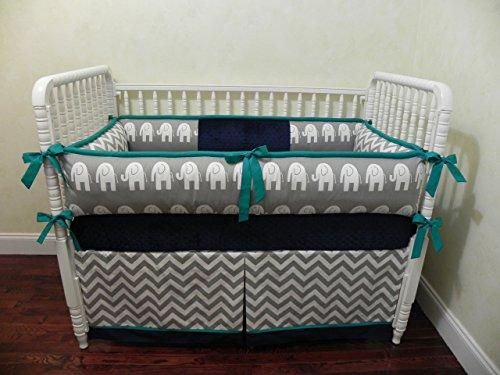 Nursery Bedding, Baby Bedding Set Ethan, Boy Crib Bedding, Elephant Baby Bedding, Gray, Navy, and Teal Crib Bedding - Choose Your Pieces ()