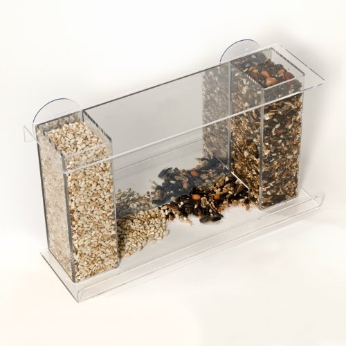 Spring Pet Bird Galley Window Feeder - Clear Acrylic w/ Mirror Back - Attaches to Window w/ Suction Cups for Close-up Birdwatching, 2 Tubes for Different Seeds to Attract a Variety of Songbirds - Fun for Kids and Pets-Great for Homes,Offices,Apartments,Schools & Dorms (Back Feeder)