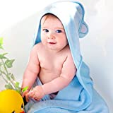 Luxury Hooded Baby Towel and Washcloth Set (Blue) | Extra Soft Bamboo for Infant, Toddler, Newborn and Kids | Great Gift for Boys and Girls at Bath, Pool and Beach | Better than Organic Terry Cotton