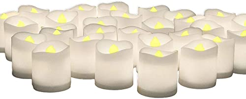 BANBERRY DESIGNS White Votive Candles – Set of 48 Battery Operated Candles with Realistic, Flickering Flame – Bulk Set of Candles for Weddings